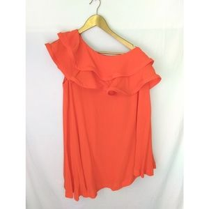 Asos Mini Dress Tank One Sleeve Ruffle Orange Sz 4